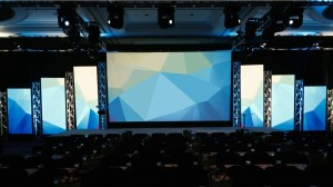 Center rear projection with LED wall pillars