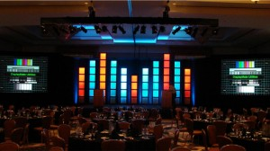 Stage light boxes and two screen projection